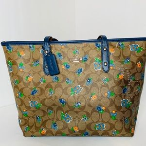 Damaged Coach Limited Blue Floral Tote